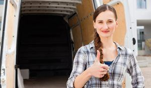 Women Infront of the Van